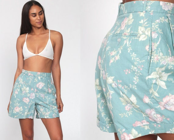 Floral Shorts -- 80s FLORAL Print Mom Shorts Light Blue High Waisted Retro Trouser Baggy 1980s Cotton Vintage Pastel Pink Small