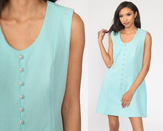 Mod Mini Dress 60s Shift Blue Button Up Dress 70s Gogo Sleeveless Seventies 1970s Vintage Sixties Twiggy Retro Large