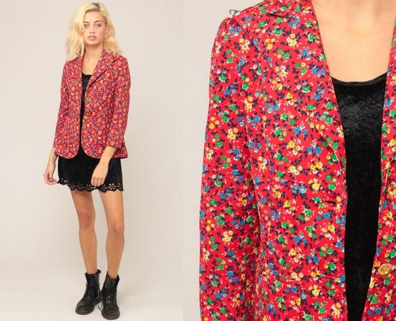 Floral Blazer Jacket Floral Jacket 70s Boho Hippie Jacket Red 1970s Bohemian Vintage Festival Blazer Extra Small xs