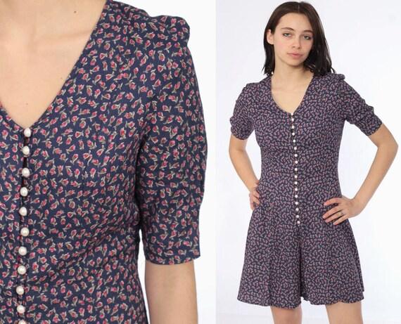 90s Floral Romper Dress -- Playsuit 90s Mini Dress Boho Blue One Piece Woman Skort Pearl Button Short Sleeve Tie Up Onesie Summer Small