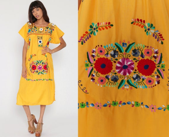 Floral Mexican Dress Yellow EMBROIDERED Midi Hippie Boho Ethnic Tent Bohemian Floral Cotton Tunic Traditional Medium