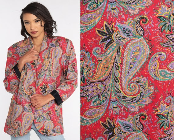 90s Paisley Blazer -- 80s Jacket Red Jacket Paisley Print Psychedelic Blazer Printed Vintage Button up Jacket 1990s Large