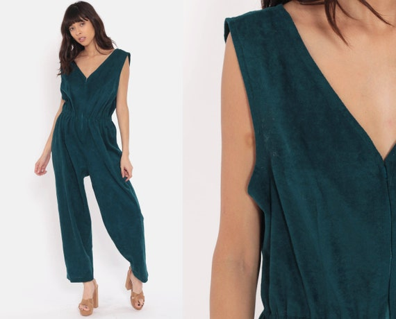 Velour Jumpsuit 80s Jumpsuit TAPERED Pants Green Pantsuit Zip Up Vintage Sleeveless V Neck Romper Pants Medium
