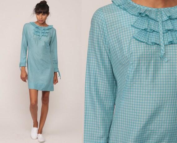 60s Mini Dress Mod Ruffle Twiggy Blue GINGHAM Print 1960s Shift Boho Tuxedo Vintage Party Lolita Minidress Long Sleeve Dolly Extra Small xs