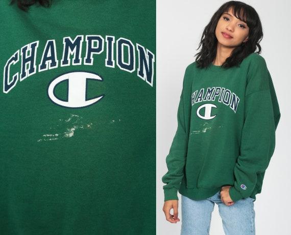Champion Sweatshirt Green Crewneck Pullover Paint Splatter 90s Streetwear Shirt Slouch 1990s Vintage Sports Jumper Sportswear Extra Large xl