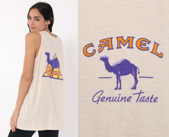 Camel Joe Cigarette Shirt Cigarette Tank Top 90s Smokers T Shirt Genuine Taste 1990s Vintage Retro Graphic Print Tee Beige USA Medium Large
