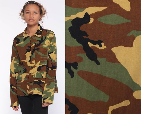 Camo Shirt Army Camouflage Shirt Military Jacket Olive Drab Green Grunge 80s Commando Cargo 1980s Vintage Extra Small xs