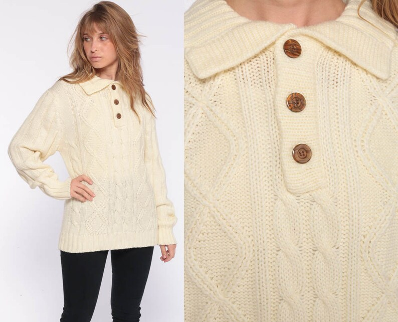 c89b13e3cf37 Cream Cable Knit Sweater Boho Knit 70s Bohemian Fisherman