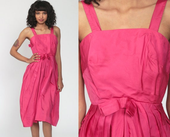 60s Formal Dress Pink Party Dress BOW Hourglass Dress Prom 1960s Cocktail Mad Men Vintage Sixties Evening Midi Tea Length Extra Small xs