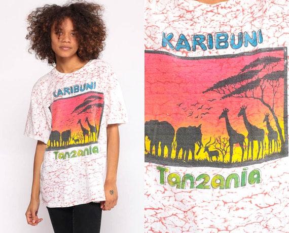 Karibuni Tanzania Shirt Safari Tshirt Animal T Shirt 90s Elephant Shirt Giraffe Jungle Tshirt Graphic Retro T Shirt Vintage Extra Large xl