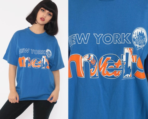 NY Mets Shirt Baseball T Shirt NEW YORK Mets Shirt 80s TShirt Sports Graphic Print Tee Vintage 1980s Royal Blue Short Sleeve Medium Large
