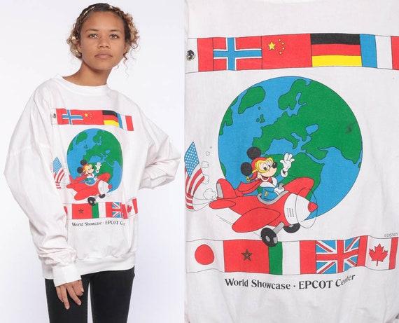 Mickey Mouse Shirt Epcot Shirt Disneyland Sweatshirt 90s Walt Disney T Shirt Graphic Tshirt Cartoon Vintage Retro 1990s Kawaii Medium Large