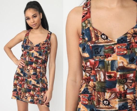 Summer Dress Mini Sundress 90s FLORAL Print Sun CRISS CROSS Grunge Sheath Patchwork Cute Bohemian 1990s Vintage Boho Small