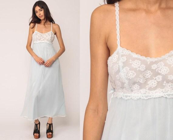 Vanity Fair Nightgown SHEER Slip Dress 70s Pastel Lingerie Baby BLUE Lace Maxi Vintage Boho Nylon Empire Waist Bohemian Extra Small xs