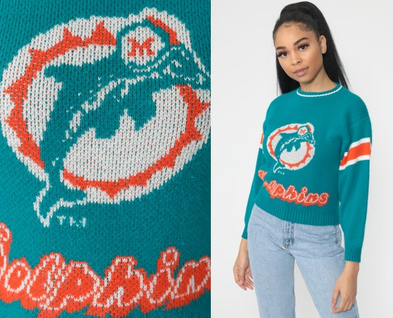 Vintage Miami Dolphins Sweater 80s Sweater Florida Football NFL Football Sweater Baggy Jumper Sports Vintage Knit 1980s Extra Small xs