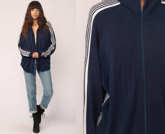 Track Jacket Zip Up Sweatshirt 80s Striped RAGLAN Sleeve Dark Blue Warm Up Funnel Neck 1980s Sports Vintage Old School Large