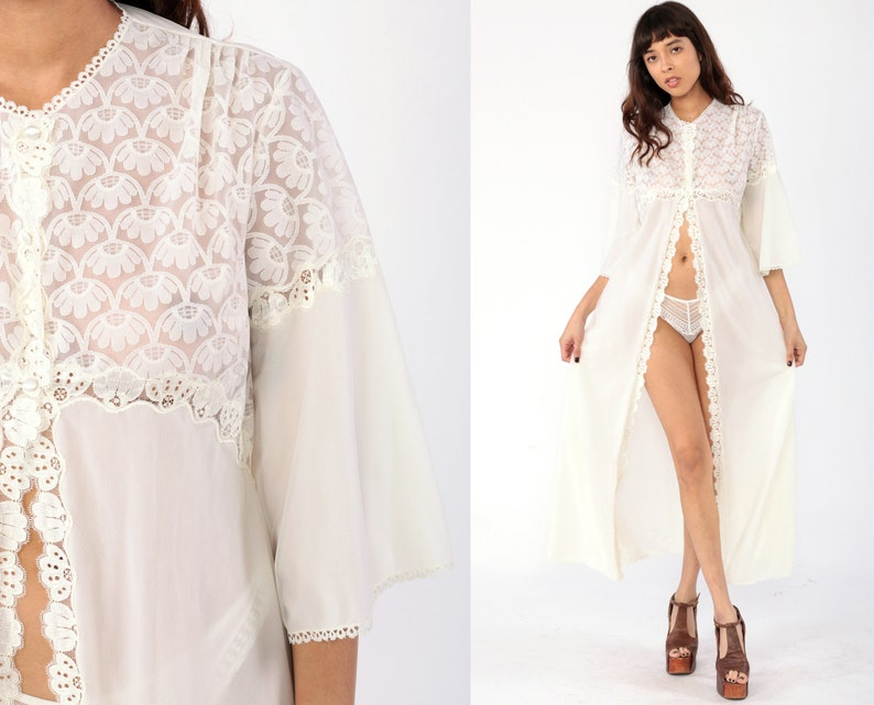 Long White Robe Lingerie Jacket 70s LACE Kimono Robe Maxi Lingerie Nylon Peignoir Bridal 1970s Empire Vintage  Small Medium Large