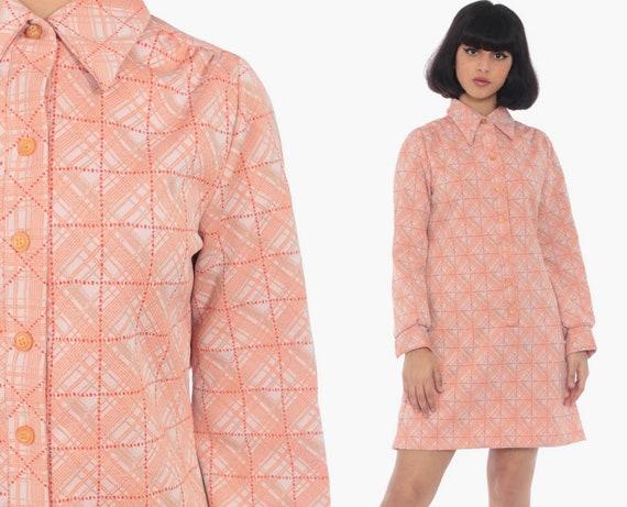 Orange Checkered Dress 70s Mini Dress Sheath Shirtdress Shift Mod Button Up Dress Collared Long Sleeve Vintage 1970s Twiggy Medium