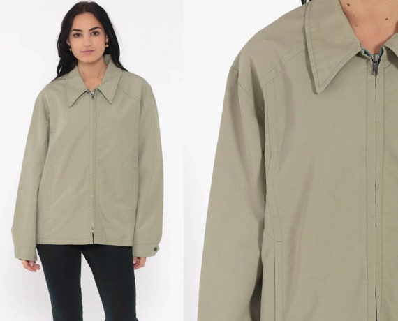 Light Green Jacket 70s Jacket Retro Plain Jacket Zip Up Normcore Hipster Collar Vintage 1970s Retro Preppy Boho Large