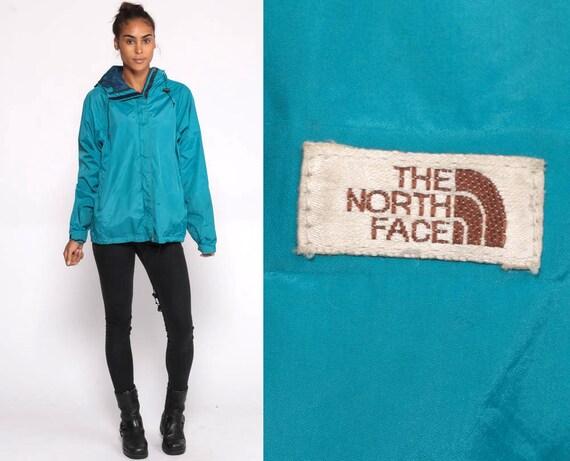 THE NORTH FACE Jacket Hooded Coat Gortex Windbreaker 90s Jacket Anorak Ski Vintage Blue Jacket 80s Hoodie 1990s Sportswear Coat Retro Large