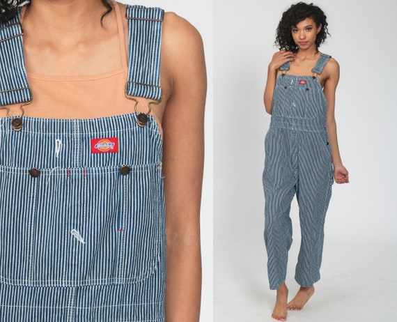 Dickies Overalls 90s Denim Bib STRIPED Overalls Baggy Dungarees Long Jean Pants Grunge Conductor Carpenter Work Wear Medium