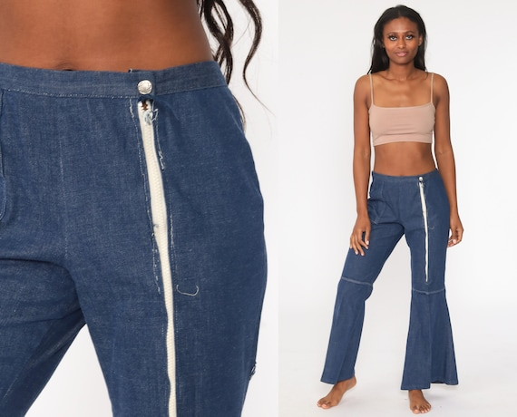 Chambray Bell Bottoms Pants 70s Trousers Flared Blue Cotton Hippie Boho Wide Leg High Waisted Pants Bellbottom 1970s Vintage Large 32