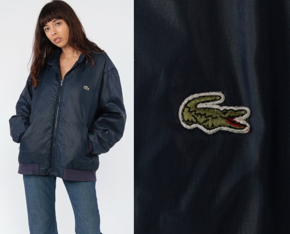 Warm Lacoste Jacket 80s Navy Blue Puffer Zip Up Hooded Winter Coat 1980s Nylon Jacket Navy Blue Vintage Retro Medium Large