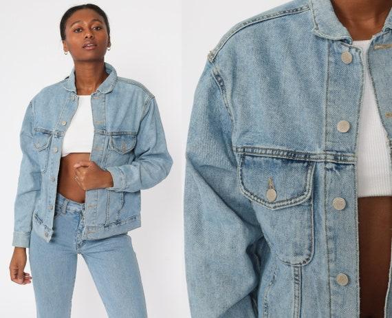 Blue Denim Jacket 90s Jean Jacket 1990s Vintage Biker Grunge Button Up Trucker Jacket Medium