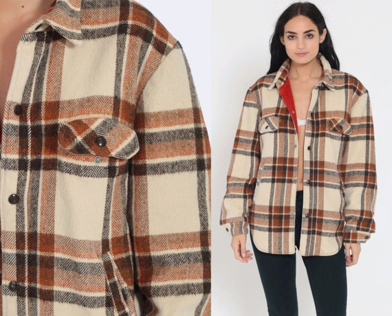 CPO Jacket Wool Flannel Plaid Shirt 70s Grunge Snap Up Lumberjack Jacket Cream Oversize Long Sleeve 1970s Button Up Vintage Medium Large