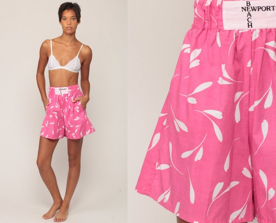 Floral Shorts 80s Shorts NEWPORT BEACH Pink Wide Leg Summer High Waisted Retro Vintage 90s Hipster Cotton Extra Small xs