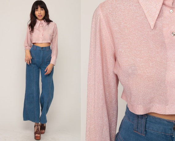 Metallic Crop Top Pink Blouse Silver Shirt 70s Disco Top Silver Cropped Long Sleeve Party Shirt Hippie Vintage Hipster Small Medium