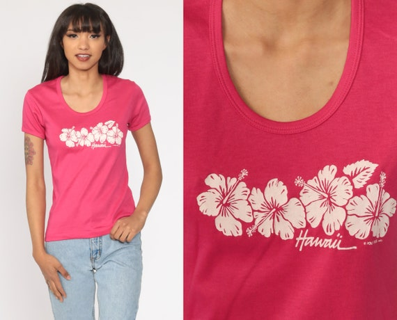 Hawaiian Leaf Print Blouse Large Size Tropical Pattern Blouse 1980s Bright Pink Shirt Button Front Summer Shirt 80s Short Sleeve Shirt
