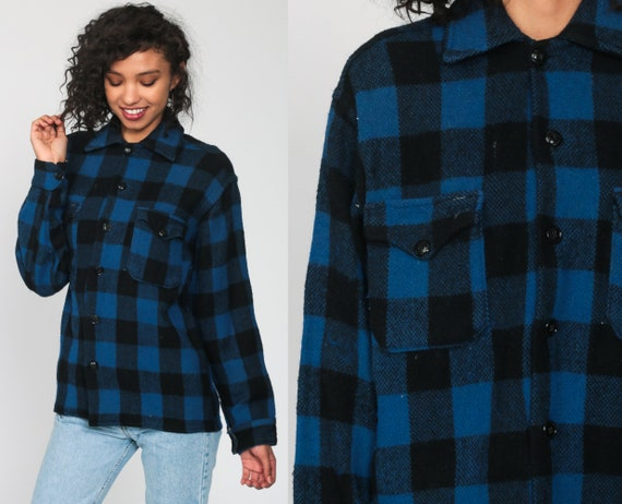 Buffalo Plaid Shirt 80s WOOL Blue Flannel Lumberjack Jacket Button Up Long Sleeve 1980s Oversize Grunge Vintage Men Black Medium Large