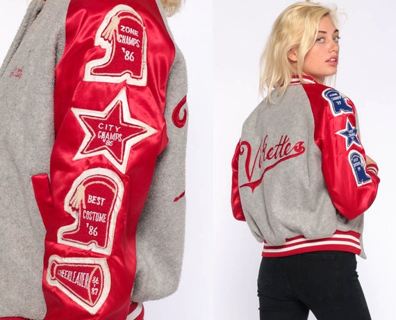 1987 Cheer Jacket Varsity Jacket Letterman Jacket 80s Cheerleader Uniform School Jacket Vikettes Baseball Coat Sports Vintage Extra Small xs