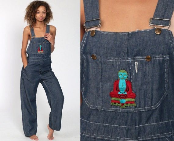 Dark Overalls Pants 70s BUDDHA Patch Bib Overalls FAUX DENIM Pants Jean Dungarees Hippie Boho Coveralls 1970s Blue Carpenter Small Medium