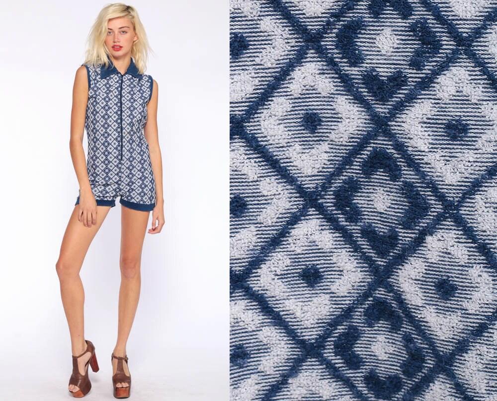 70s romper shorts terry cloth romper blue mod romper geometric one