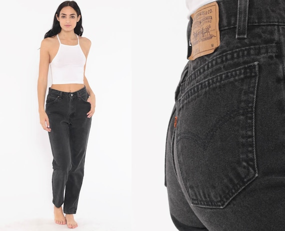 Black Levi Mom Jeans 28 -- 90s Levis Jeans USA High Waist Jeans Levi Denim Pants Vintage Relaxed Tapered 1990s Small 28
