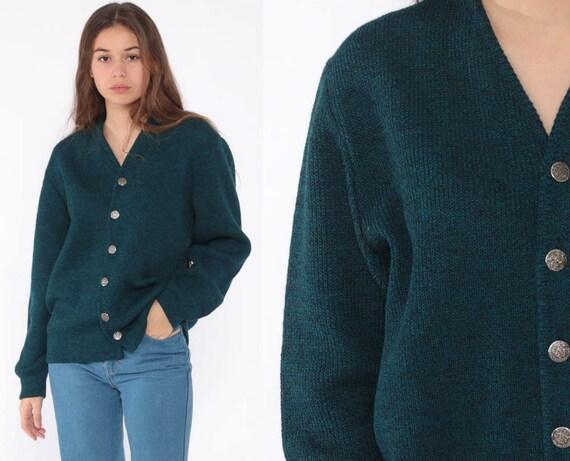 70s Wool Cardigan Blue Grandma Cardigan Sweater 80s Button Up Slouchy Vintage Retro Cozy Winter Sweater Medium