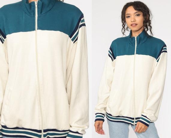 Zip Up Sweatshirt Track Jacket 80s Color Black Jacket Cream Blue Warmup 1980s Warm Up Athletic Sports Vintage Large xl l