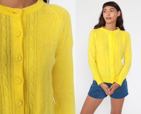 Yellow Cable Knit Cardigan 70s Boho Sweater Bright Grandma Sweater Cableknit Button Up 80s Vintage Bohemian 1970s Nerd Geek Small