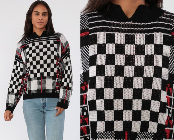 80s Sweater Black White Checkered Print Geometric Knit Jumper 1980s Statement Vintage Pullover Retro Large
