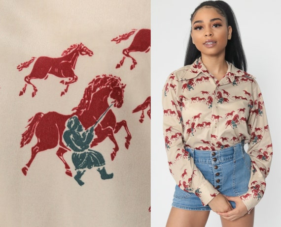 Horse Shirt Men's Dagger Collar 70s Boho EQUESTRIAN Shirt Bohemian Hippie Button Up Top 1970s Vintage Novelty Long Sleeve Tan Small Medium
