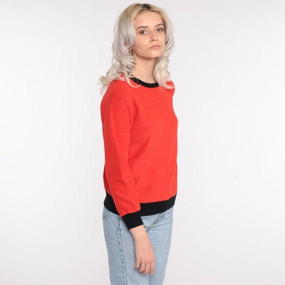 Terry Cloth Sweater 70s Red-Orange Umbrella Shirt… - image 4