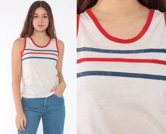 Striped Tank Top Ringer Tee 80s Retro Shirt Burnout Tee Sleeveless Top 1980s Hipster Vintage Sports Red White Blue Paper Thin Extra Small xs