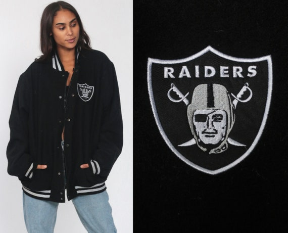 Oakland RAIDERS Jacket XL Wool NFL Varsity Jacket 90s Football Jacket Bomber Black Letterman Jacket 80s Sports Vintage Retro Extra Large xxl