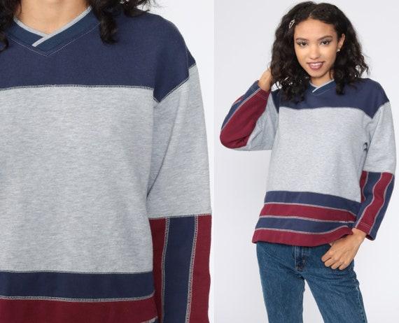 Grey Striped Sweatshirt 90s Color Block Sweatshirt 1990s Slouch Oversize Pullover Jumper Long Sleeve Shirt Vintage Small Medium