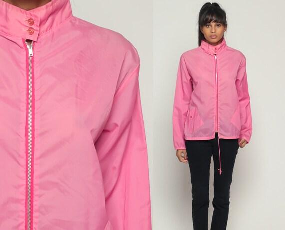 Pink Windbreaker Jacket 80s Coat Nylon Shell Sheer Hipster Vintage Funnel Neck 1980s Lightweight Small Medium