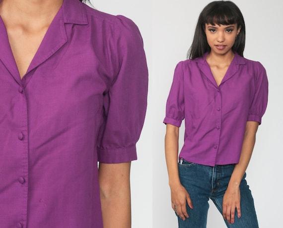 Puff Sleeve Blouse Plain Purple Top Button Up Shirt 80s Boho Hippie Collar Top Vintage 1980s Short Sleeve Medium 8