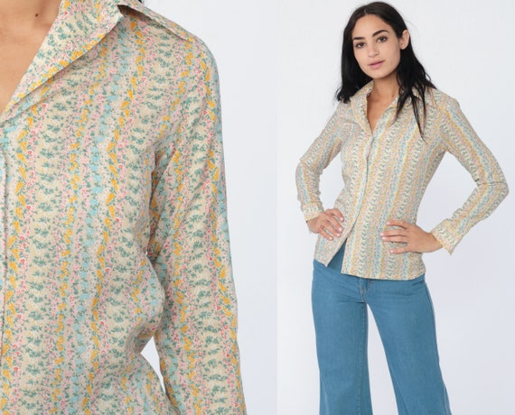 70s Floral Blouse 70s Boho Top Button Up Shirt Bohemian Long Sleeve 1970s Vintage Boho Hippie Pink Yellow Blue Extra Small xs