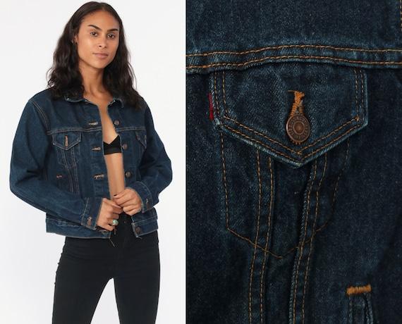 Levis Denim Jacket 90s Jean Jacket LEVI STRAUSS Denim Jacket Cropped 80s Coat 1990s Vintage Women Dark Blue Denim Extra Small xs